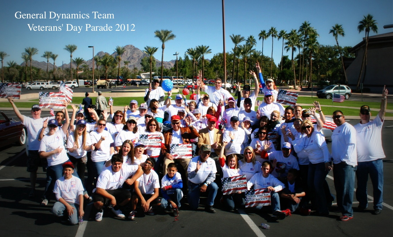 Representing General Dynamics with pride – Arizona based employees, family and friends gathered on Monday for the 16th Annual Phoenix VA Veterans Day Parade. This is known as one of the largest parades in the country, more than 40,000 turned out this year to show their support.